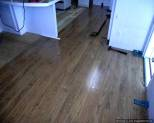 Pergo XP laminate flooring Begining of installation into Kitchen from the dining room.