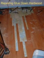 Here is an engineered hardwood floor being repaired due to water damage