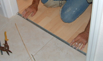 I M Cutting The Track To Fit In The Doorway For The Laminate Transition Mold