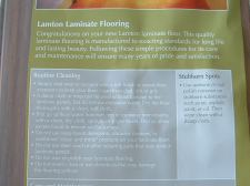 Lamton laminate flooring label on package