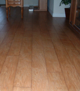 Mohawk laminate flooring, hand scraped looks like real wood.