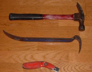 Carpet removel tools, hammer, crowbar and razor knife