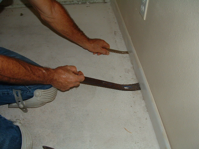 Installing baseboard remove and install for Water damage baseboard bathroom