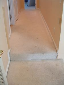 Here is the landing and hallway before I remove the carpet.