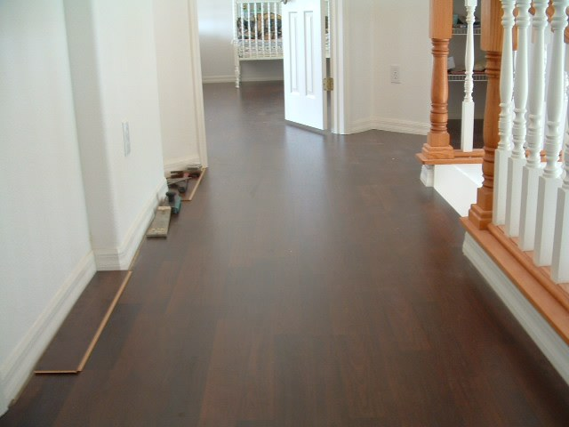 Lowes Mohawk laminate flooring installed in hallway