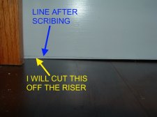 After scribing with the pencil, I will cut along this line with my table saw