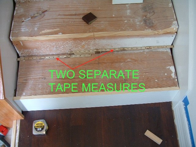 I Use Two Separate Tape Measures In Order To Get The Exact Width Of The  Stair