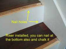 Here are the nail holes in the riser that can be filled in with chalk or a matching wood putty