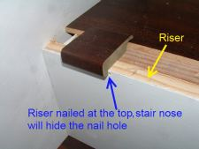 Here you can see the nail hole at the top of the riser,while installing laminate flooring on stairs.