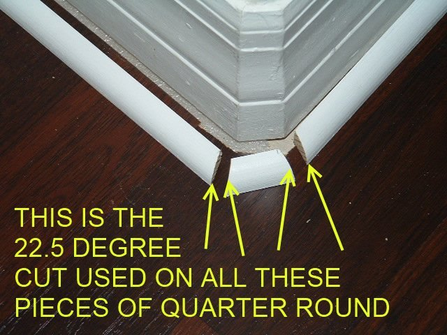 Installing quarter round on round corners,this shows how to cut the quarter round at 22.5 degree so the quarter round can be installed on a rounded corner.
