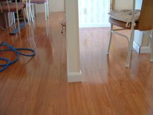 Vanier laminate flooring installed around a wall photo