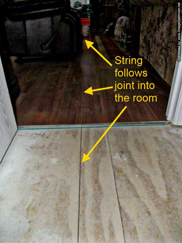 Pergo, Using a string to line up joints on laminate flooring