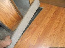 Installing laminate flooring in a travel trailer, up to the slide out