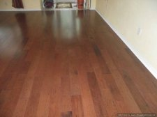 Bruce Hardwood floating floor shows variation in shades