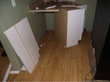 Cabinet was installed on top of laminate