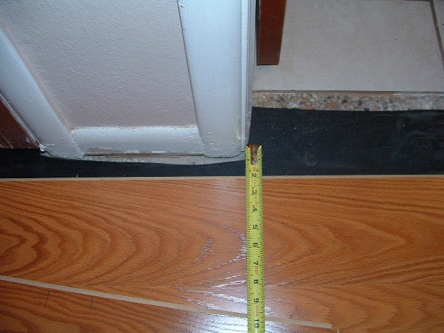 Hallways, to install the last row of laminate flooring in the hallway under door jamb, you need to measure from the laminate to the door jamb.
