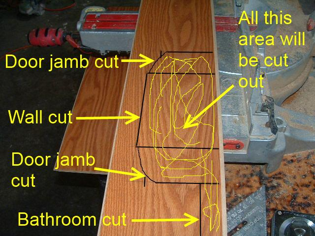 Hallways, after measuring the space for laminate flooring in the hallway I draw lines that connect the measurements, this shows where the cuits need to be.