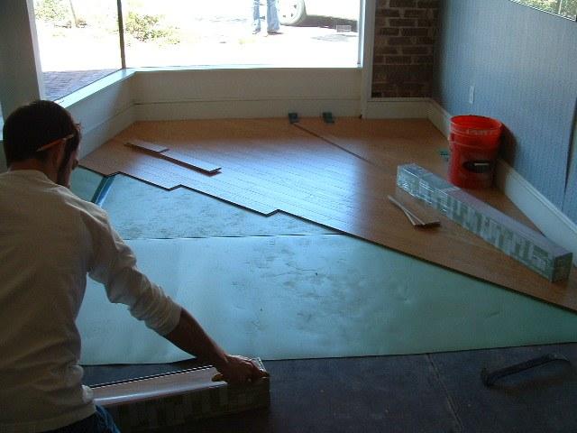 Installing laminate at a 45 degree angle.
