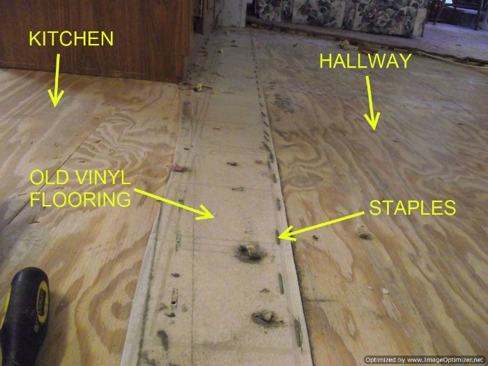 When installing laminate flooring in mobile homes removing the old vinyl and staples may be necessary.
