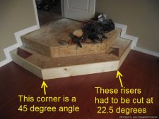 Installing laminate flooring on angled stairs, here you can see the 45 degree angle and cutting the risers at 22.5 degrees each.