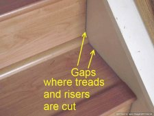 Bad laminate stair installation. It shows gaps where the treads and risers were cut to meet the sides of the stairs.