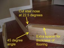 Installing laminate flooring on angled stairs, the angle of these stairs are 45 degrees so the stair nose should be cut at 22.5 degrees each.