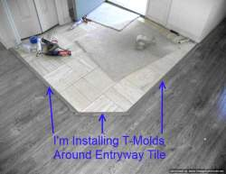 Shaw Gray laminate flooring, installing T-molds at entry tile