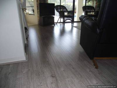 Shaw Gray laminate flooring, shows hand hewn texture