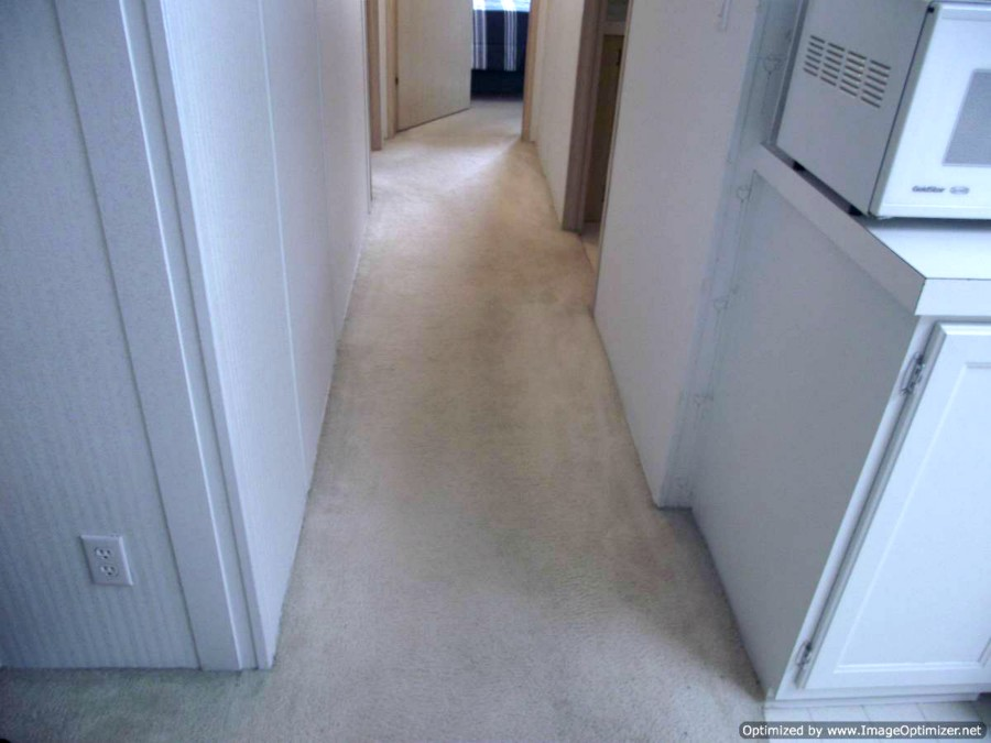 Pergo XP laminate flooring Begining of installation in mobile home, Before photo of hallway
