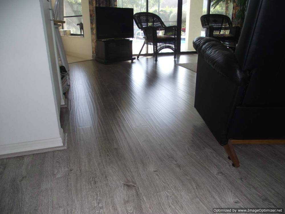 Shaw Gray laminate flooring, shows hand hewn texture