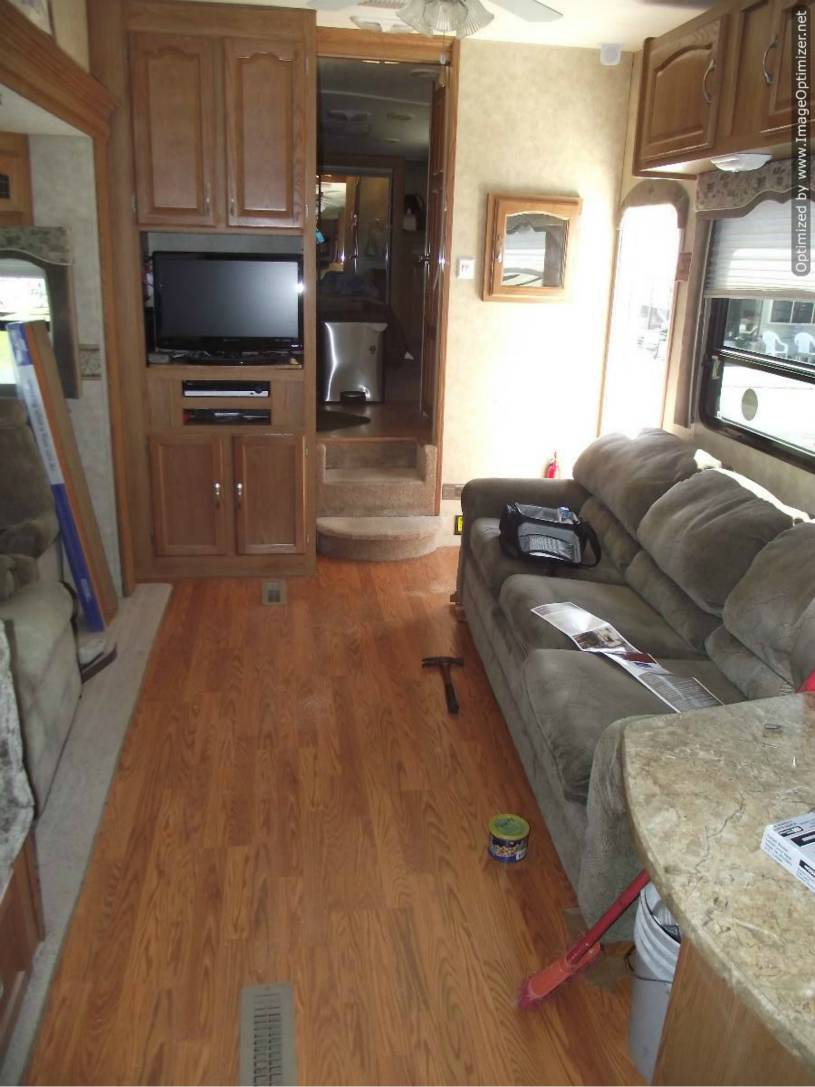 Installing laminate flooring in a travel trailer, finished laminate installation