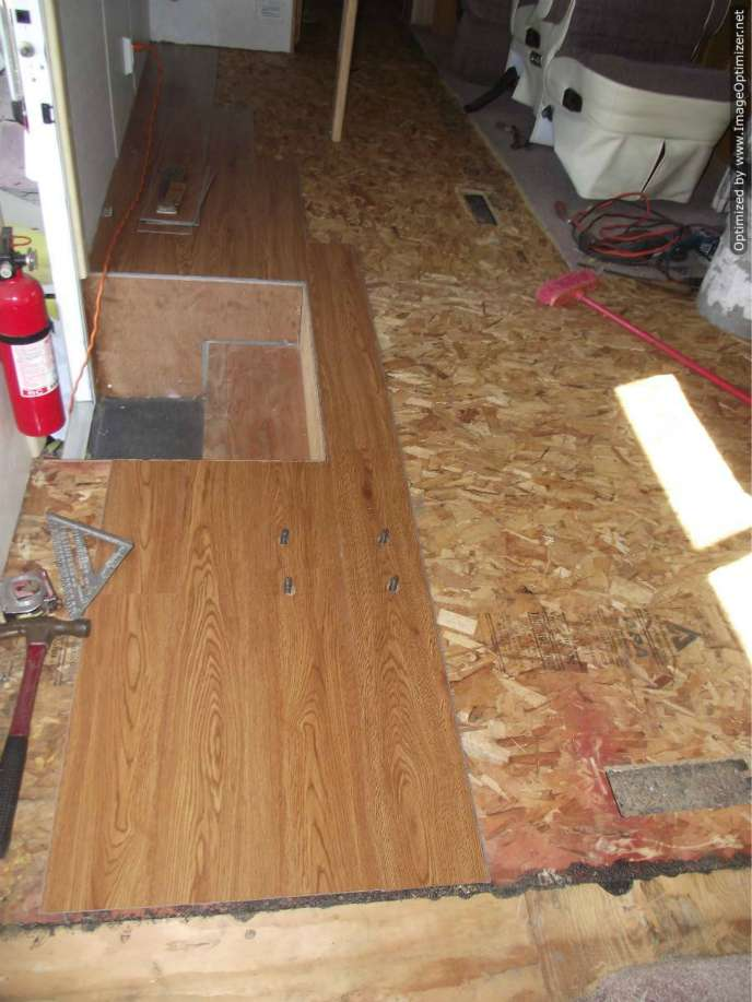 Vinyl laminate flooring,installing it in a motor home