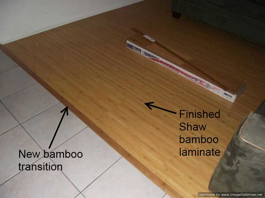 Finished Shaw  Bamboo  laminate flooring