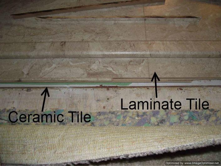 Laminate Tile Flooring In Bathroom Over Ceramic Tile