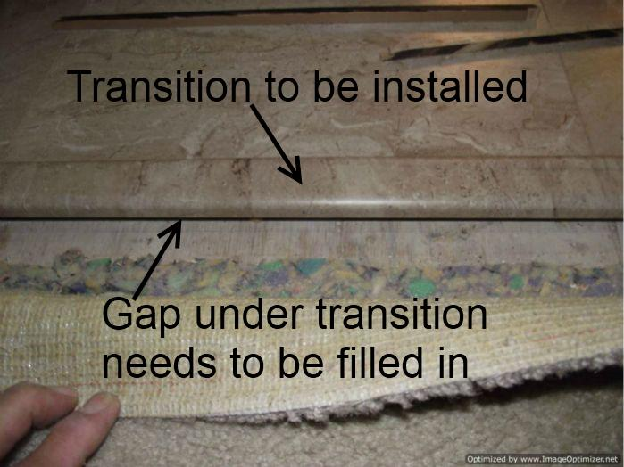 Laminate Tile Flooring Over Ceramic Installing Transition Needs To Be Modified For The Higher