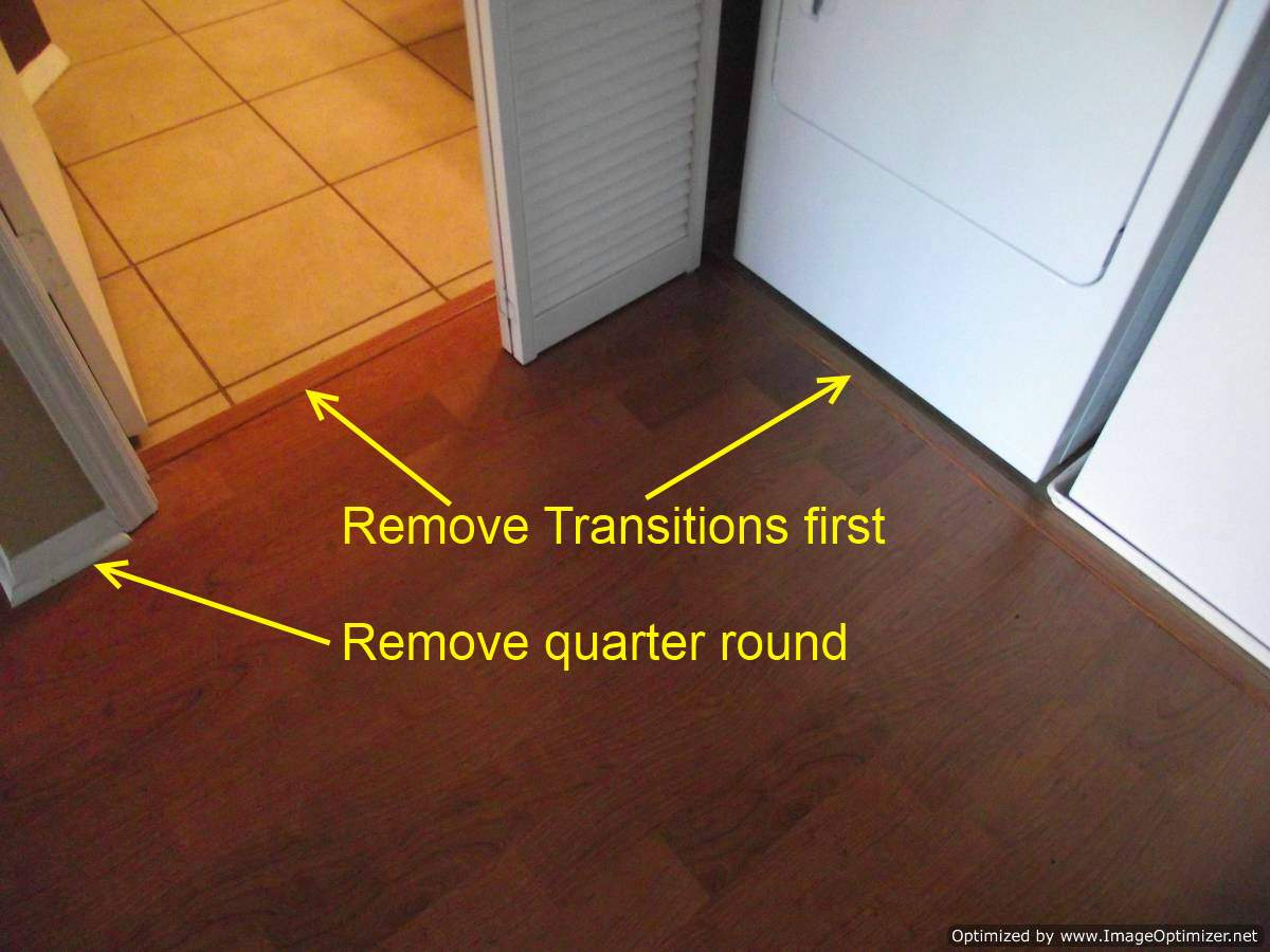 Water damaged laminate flooring,remove transitions and quarter round first.