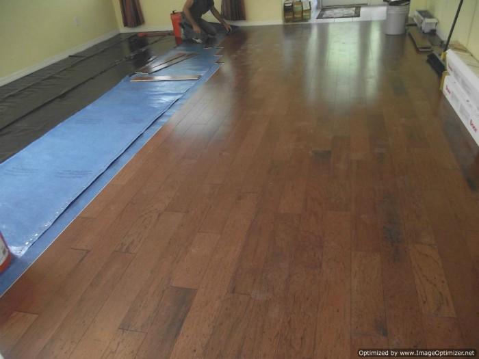 Bruce Hardwood floating floor installation
