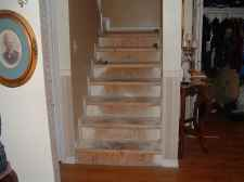 Here is a photo before I installed the laminate flooring on the stairs.