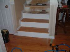 Here I'm starting at the bottom when installing the laminate flooring on the stairs