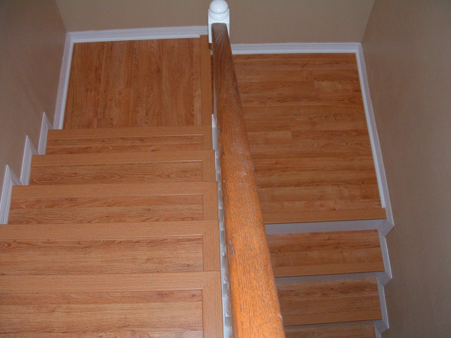 Finished Stair Case Done With Laminate Flooring