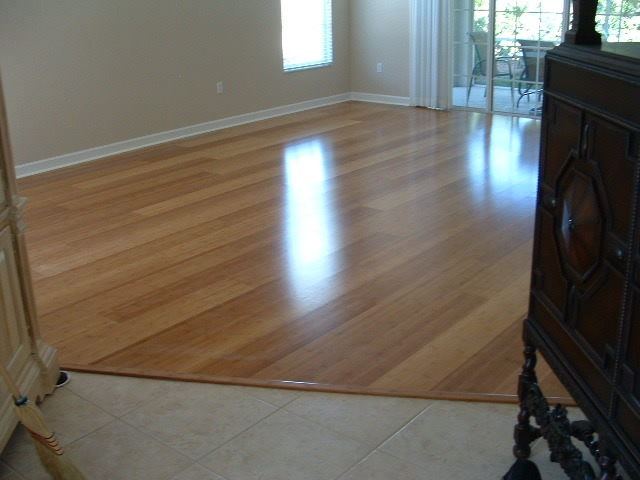 Witex floating  engineered wood flooring bamboo installed in the living room