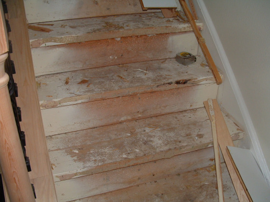 A Photo Of The Stairs Before I Cut The Stair Nose Over Hang Off