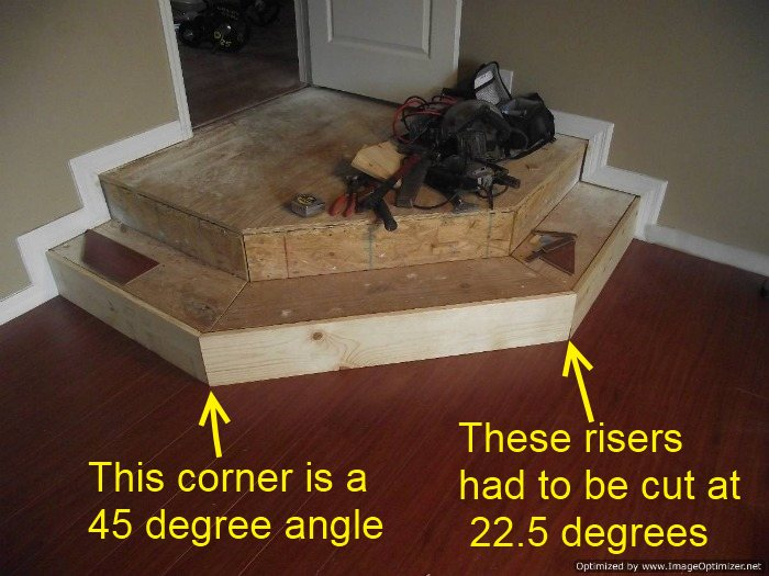 Installing Laminate Flooring On Angled Stairs, Here You Can See The 45  Degree Angle And