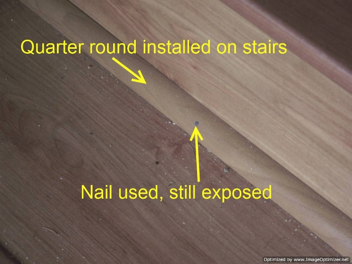 Bad laminate stair installation. It had quarter round installed on them to hide the uneven fit between the riser and the tread.