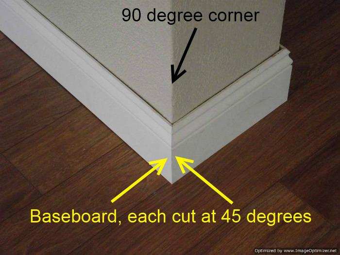 Installing baseboard cutting 45 degree angles to fit 90 degree corner.