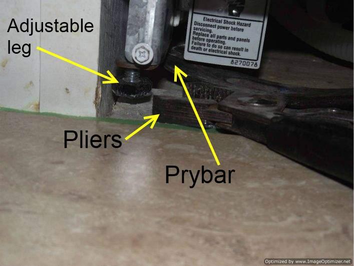 Laminate Tile Flooring Under A Dishwasher Adjusting The Legs