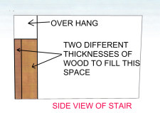 Fill in the space under the over hang on the stair to install new riser