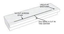 Cutting the center of the stair overhang in order to remove