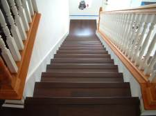 Here are the finished stairs that I installed Mohawk laminate my clients purchased from Lowes.