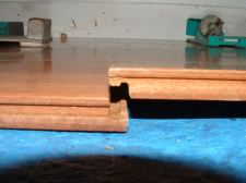 Vanier laminate flooring drop and lock end joint before it is dropped down